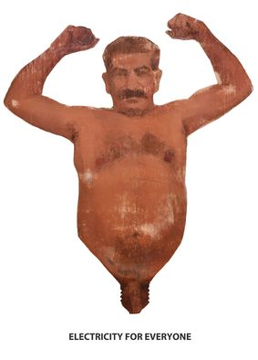 Stalin torso 'Electricity for Everyone'